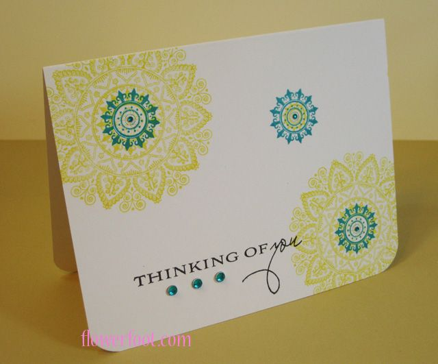 Mehndi Thinking of You  Stamp Sets - PTI Mehndi Medallion and Botanical Silhouettes  Cardstock - Stampers Select White  Ink - CTMH Sunny Yellow, Lagoon and Black  CTMH adhesive gems