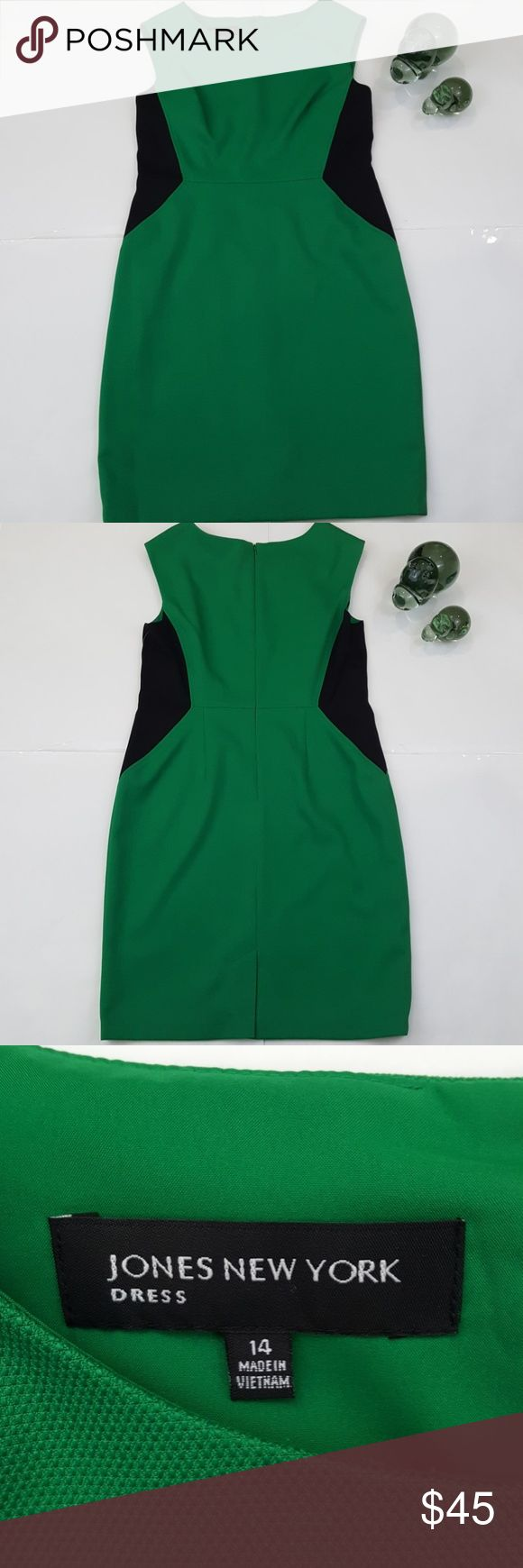 NWT Jones New York Emerald Green Dress Sz 14 Jones New York Dress Size 14 Colour Emerald Green & Black Zip On Back Fully Lined Measurements: Shoulder To Shoulder 18 Inchs Bust 21 Inchs Waist 18 Inchs Length 38.5 Inchs NWT Jones New York Dresses