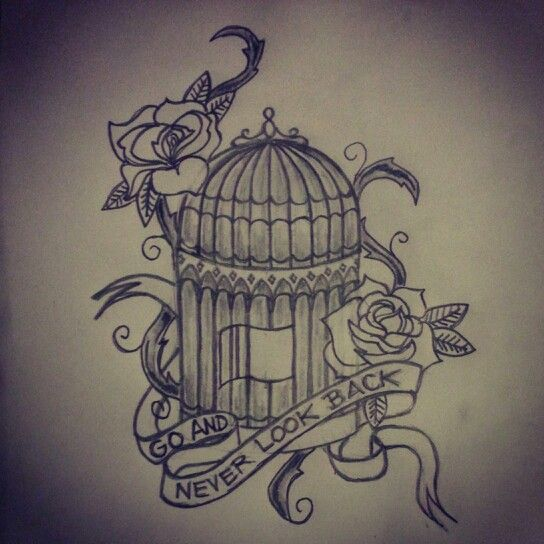 Bird cage tattoo sketch / drawing by - Ranz