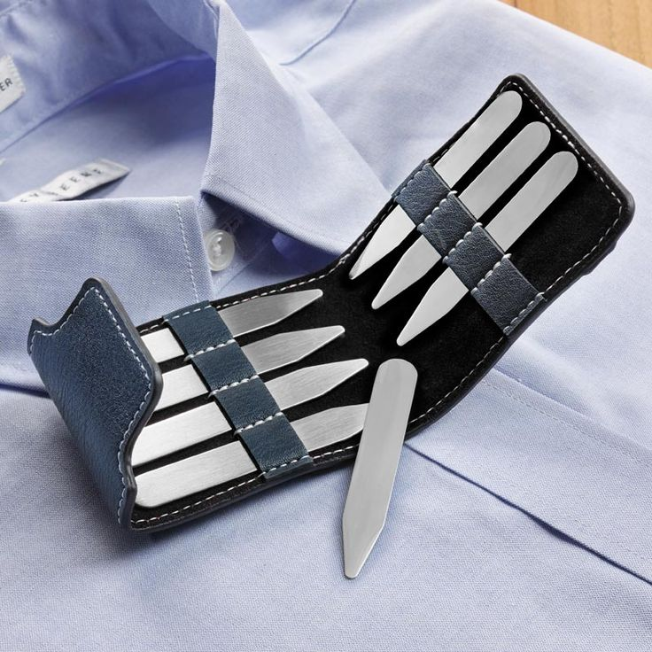 Travel Collar Stay Set; eight collar stays in a handy travel case