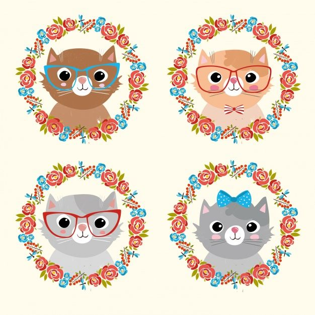 coleção gatos bonitos Vetor grátis