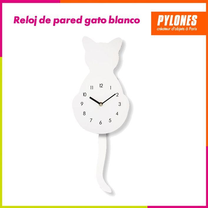Reloj de pared para gato blanco #Regalos #Novedades @pylonesco