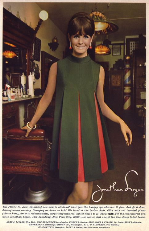 Jonathan Logan 1967 || vintage dress green red orange shift tent knit babydoll 60s 70s model magazine designer