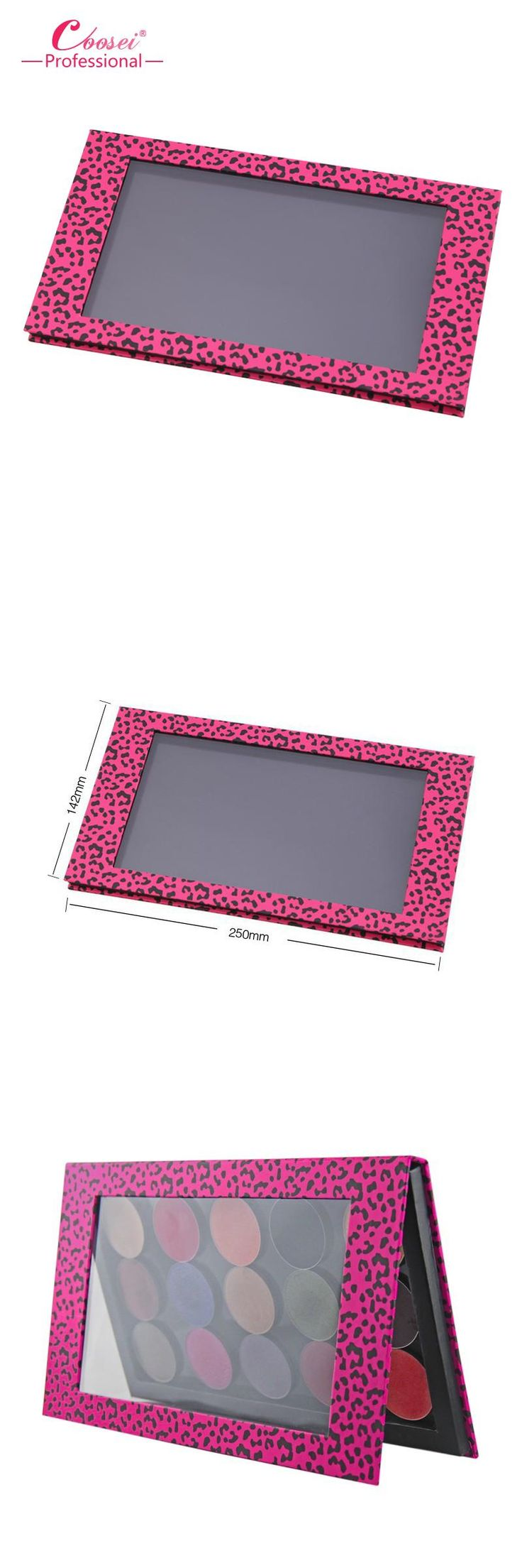 [Visit to Buy] Empty Magnetic Eyeshadow Palette,Big Pink Leopard Professional DIY Makeup Storage Box ,Fill 18*36mm pans #Advertisement