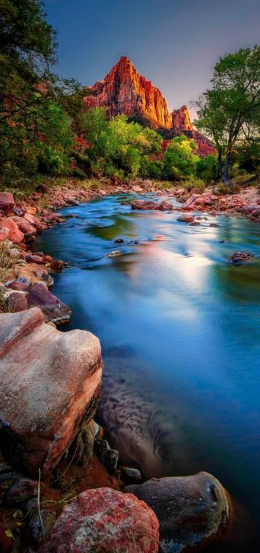On the Banks of the Virgin River | The Watchman | Zion National Park, Utah, USA | by  Bern Harrison