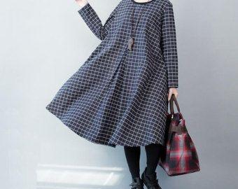 Loose fitting round neck dark blue cotton dress Spring big swing dress