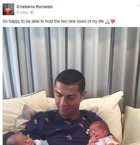 Cristiano Ronaldo Cuddles His Twin Babies As He Unveils Them Online