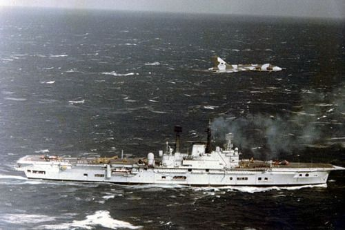 "rideoutprotectorsoftherealm:  "" Avro Vulcan B2 MRR XH537 of No 27 Squadron overflies HMS Ark Royal in 1978. HMS Ark Royal was returning to Devonport before being decommissioned.  The Mighty Ark was decommissioned in 1979, she was the last British..."