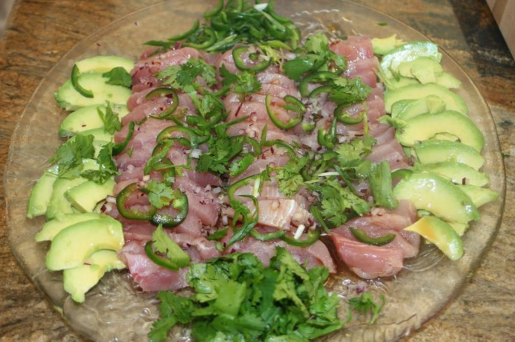The Grub Files: Cooking with Camissonia: Hamachi (Yellowtail Tuna) Crudo with Avocado, Red Onion, Jalapeños, and Fresh Ponzu Vinaigrette