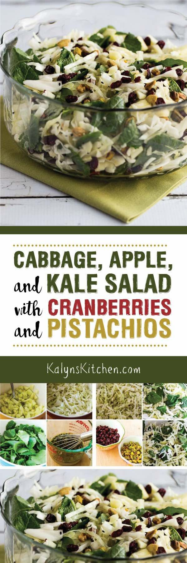Cabbage, Apple, and Kale Salad with Cranberries and Pistachios is a healthy and festive salad that's perfect for a holiday meal but also nutritious enough to make regularly as a winter salad option! [found on KalynsKitchen.com] #WinterSalad #CabbageSalad #HolidaySalad #HolidayCabbageSalad