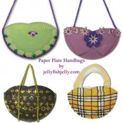 Paper Plate handbags - Great idea for the Fancy Nancy party in the manual: Hand Bags, Crafts Ideas, Handbags 23, Parties, Plates Handbags, Plates Purse, Kids, 10 Paper Plates Crafts, Hands Bags