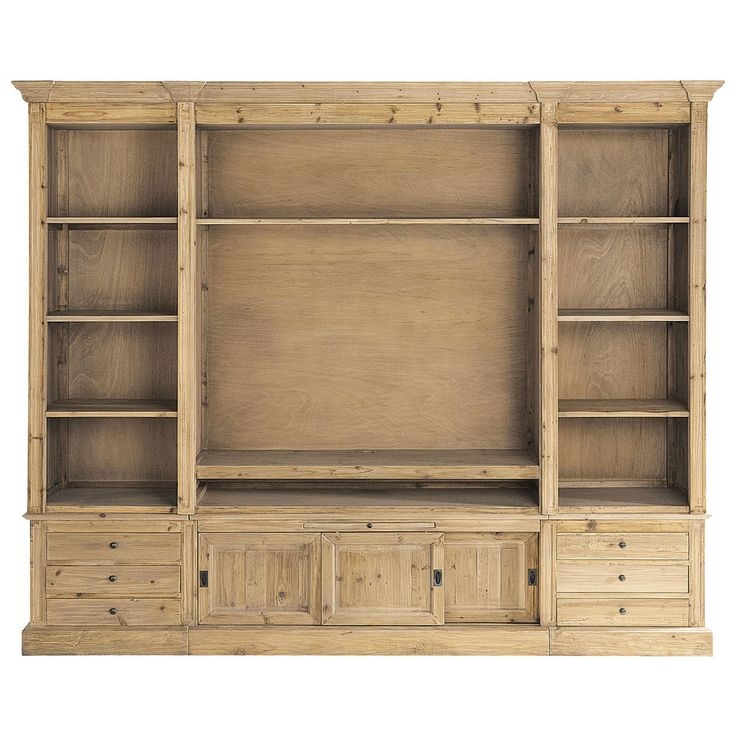 recycled solid wood tv unit bookcase w passy