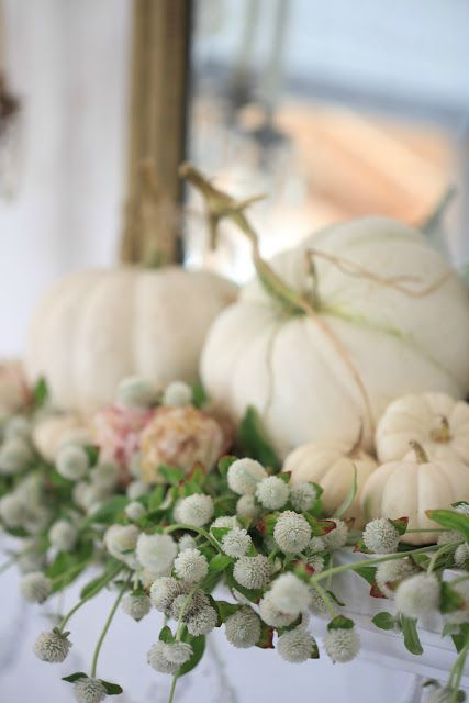 Autumn Living Room -  Simple little touches of autumn are my favorite.         Just a few pumpkins.   Flickering candles and pretty little eucalyptus or natural...