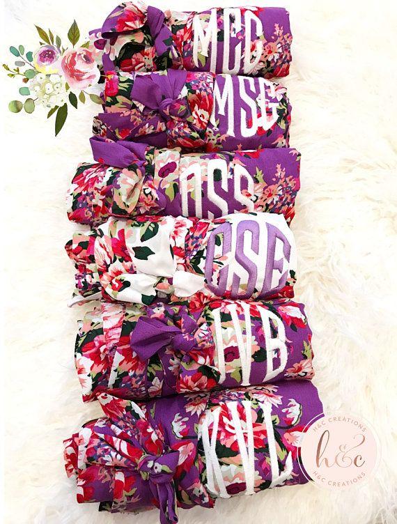 Sale! Bridesmaid robes, Cotton floral robe, Personalized robe, Monogram robe, Floral Kimono robe, Bridesmaid Robe, Bridesmaid gift