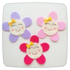 ♥ Tiryaki Hobi ♥: Keçe bebek şekeri / doğumgünü magneti - Çiçek Kız  ----- felt flower girls