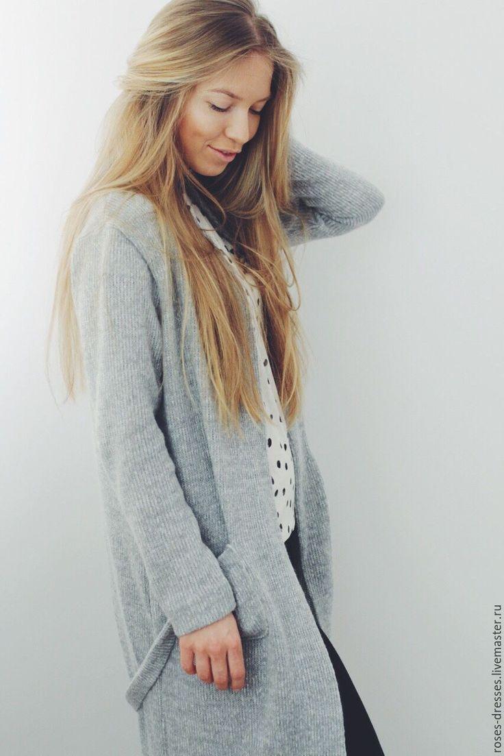 Купить Трикотажное пальто в сером цвете. - серый, однотонный, пальто, пальто вязаное, оттенки серого
