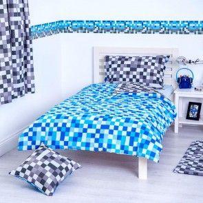 Blue U0026 Grey Pixels Design Bedding Double Duvet Cover Set With 2 Pillow Cases