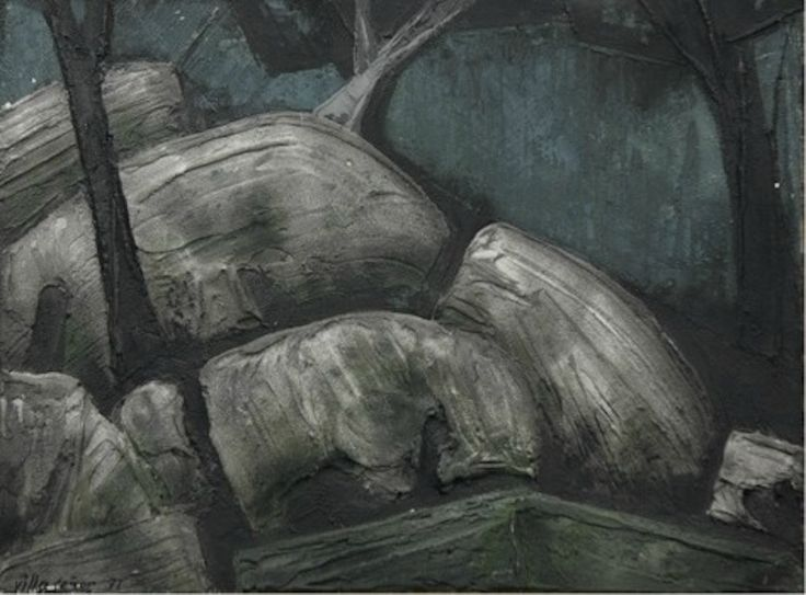 Manuel López Villaseñor. Titulo. Rocas y arboles. 1971 Técnica mixta sobre lienzo 50 x 73 cm.