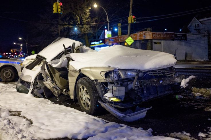 The Toyota Camry involved in a fatal accident on January 5 is seen outside the NYPD 49th Precinct station house in the Bronx, New York City on Sunday, January 8 2017. (Gardiner Anderson for New York Daily News)