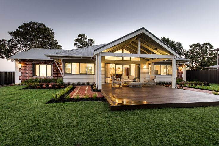 Love this country home design, with tall living area ...