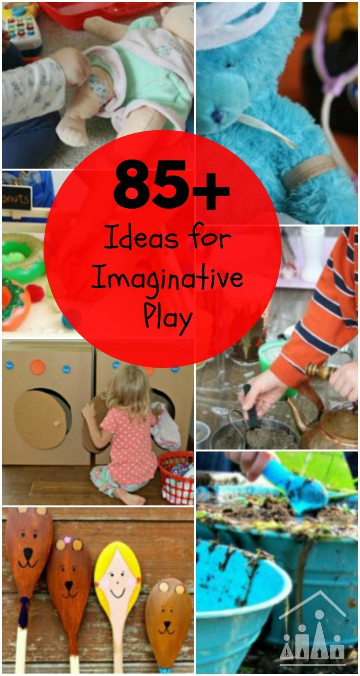 Your Ultimate Guide to Imaginative Play Ideas for kids of all ages. Includes over 85 different pretend play activities to stimulate your child's imagination. Themes covered include Animal Imaginative Play, Cardboard Box Pretend Play, Doctor and Vets Drama