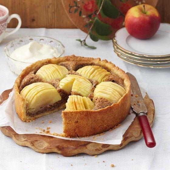 Apfel-Walnuss-Kuchen  ich habe dinkel-vollkornmehl genommen, gemahlene haselnüsse und noch eine prise zimt unter gemischt. ergebnis: