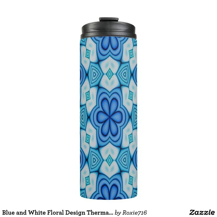 Blue and White Floral Design Thermal Tumbler