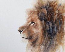 Afrika duvar dekor oda dekor aslan Duvar sanat kreş sanat 11x14 boyama aslan Yazdır aslan sanat BASKI aslan BASKI suluboya aslan boyama