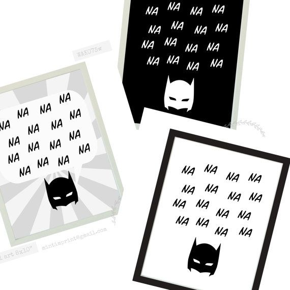 Na Na Na Na Batman Superhero Wall Print for Boys by MintImprint