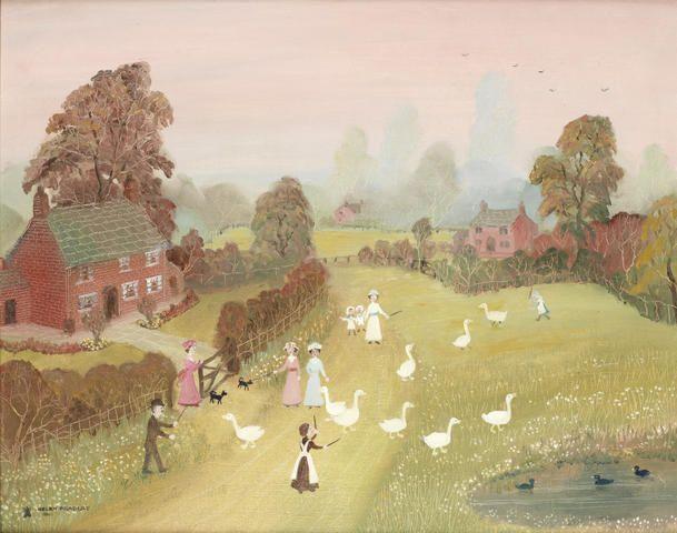 Helen Bradley 'Going for a walk before bedtime' - oil on board