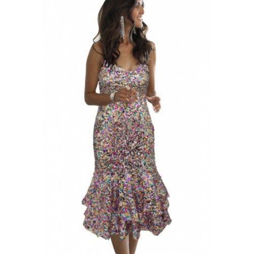 Gossip Multicolor Frill Bodycon Sheath Sequin Dress (Gossip Multicolor Frill Bod…,