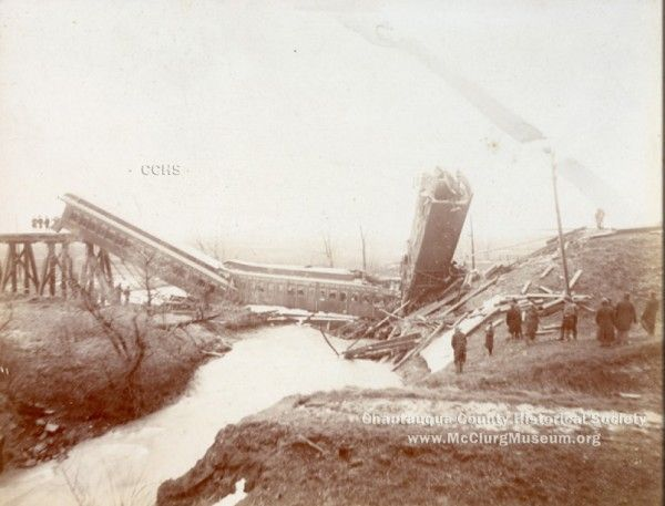 From the Dunkirk Observer – Dec. 16, 1893:  DISASTER!  A Train Dashed to the Earth Through a Bridge at Sheridan, N.Y.  FIVE WERE KILLED AND SEVERAL HURT.  Baggagman McKane of Buffalo and Supervisor of Brocton Among the killed.  THE TRESTLE SUPPORTS WERE WSHED AWAY.  The Cars Were Piled at the Bottom of Ravine in a Confused Mass.