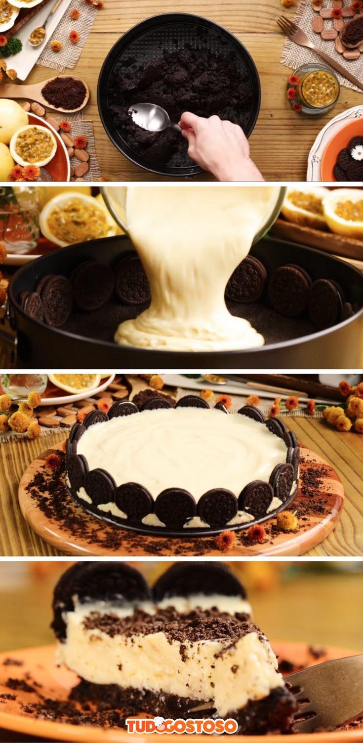 Receita completa de torta de maracujá com Oreo!