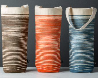 Wijn van de zak | Oranje strepen | Wijn Gift Tote omvat Gift Tag, Modern, herbruikbare, geweldig gastvrouw cadeau, Stock doek voor sociale evenementen