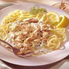 Linguine with Smoked Salmon in Cream Sauce Omit the salt when cooking the pasta if you are using the smoked salmon in this rich dish. The smoked salmon adds all the saltiness you need.