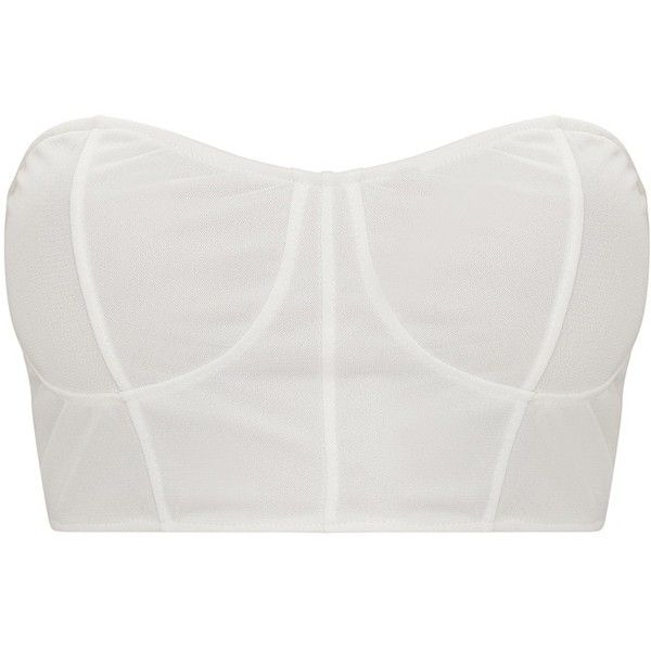 White Mesh Seam Bandeau Crop Top ($15) ❤ liked on Polyvore featuring tops, cut-out crop tops, bandeau top, white bandeau top, crop tops and white crop top