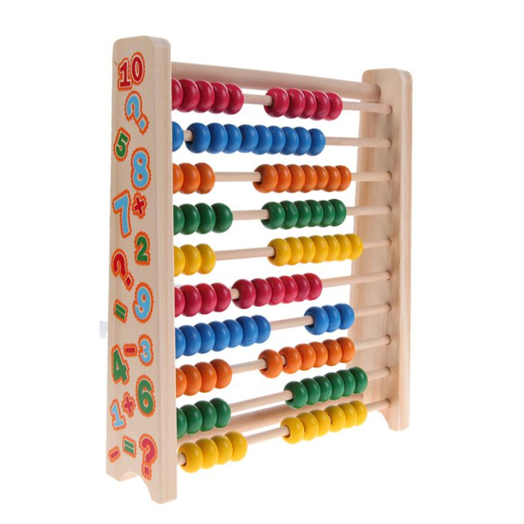 Montessori Kids Toy Baby Wood Colorful Beech Abacus Teaching Learning Educational Preschool Training Brinquedos Juguets