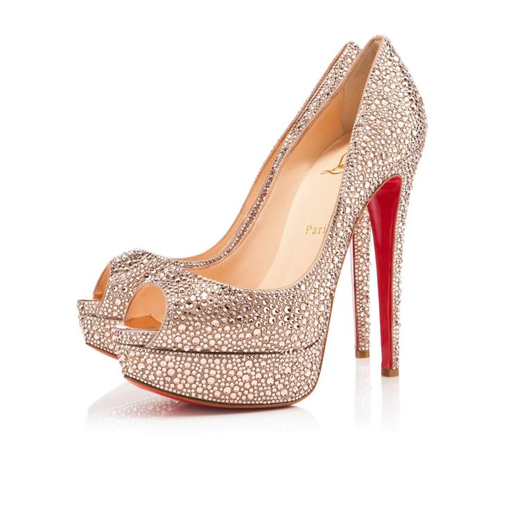Christian Louboutin Lady Peep Strass Pumps in Light Peach