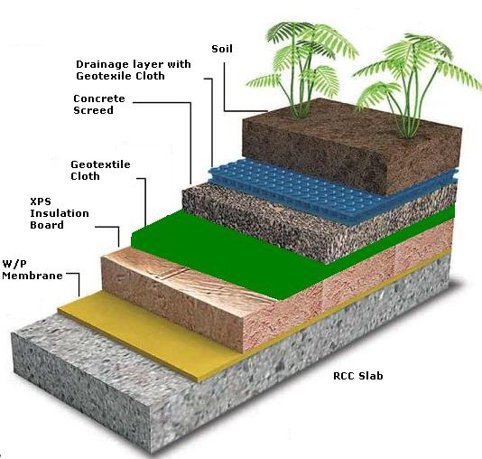 Section Details For Terrace Gardens Green Roof House
