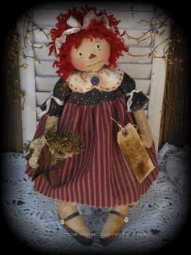 Primitive Olde Folk Art Americana Raggedy Ann Doll with Rusty Star | eBay