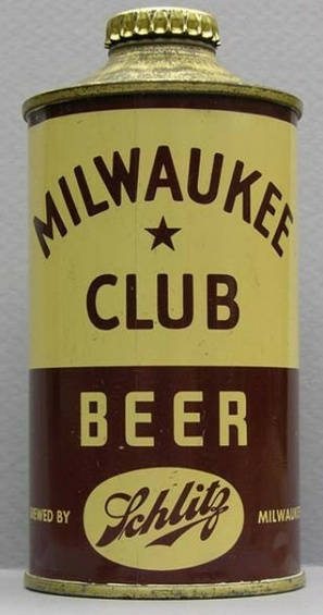 "Schlitz ""Milwaukee Club"" Cone top beer can."