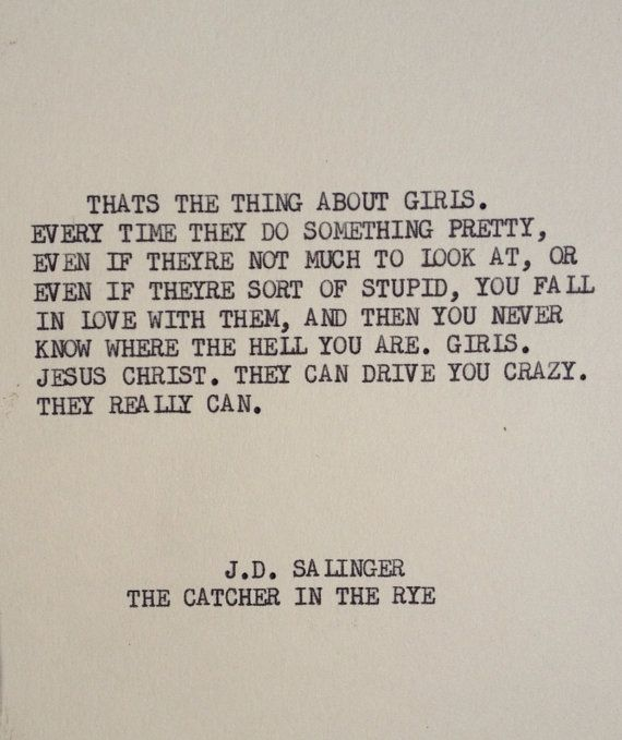 THE CATCHER in the RYE Typewriter quote on 5x7 by WritersWire, $6.00