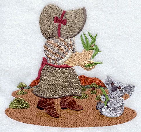 ** Sunbonnet Sue Down Under Block Of The Month Pattern Used As Applique Quilt @emlibrary