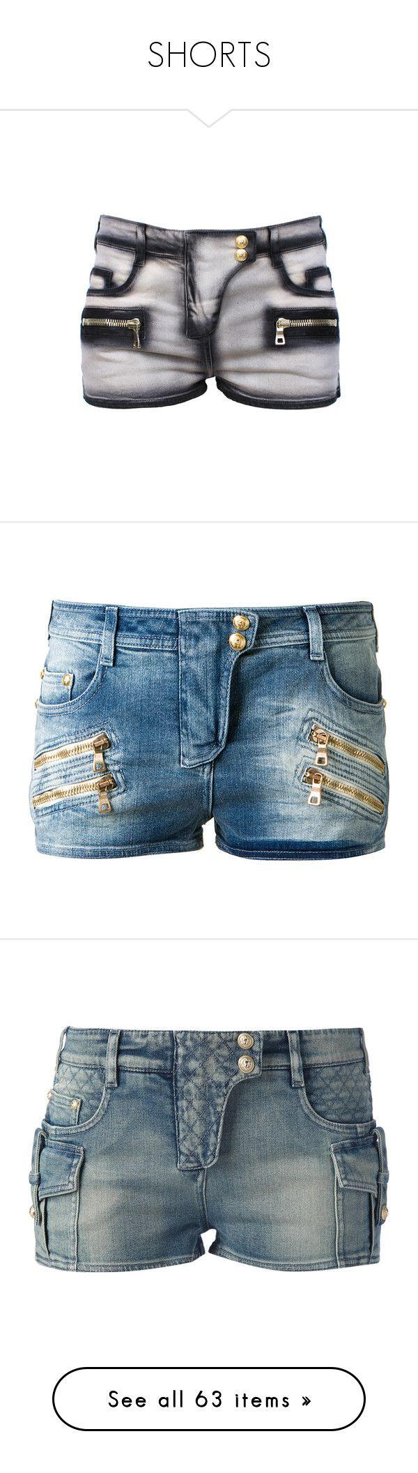 """""""SHORTS"""" by aitanas-closet ❤ liked on Polyvore featuring shorts, balmain, shorts/skirts, jean shorts, balmain shorts, pocket shorts, short jean shorts, bottoms, pants and hot short shorts"""