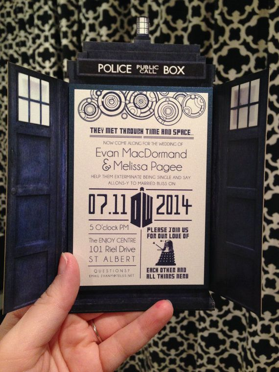 Dr Who Themed Wedding Invitations QTY 10 by NimbiDesign on Etsy