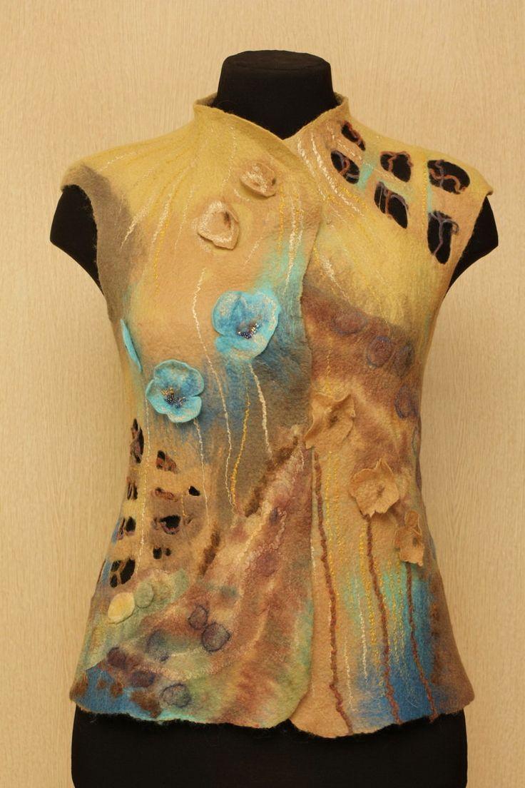 Spring Lizard / Felted Clothing / Vest by LybaV on Etsy, $200.00