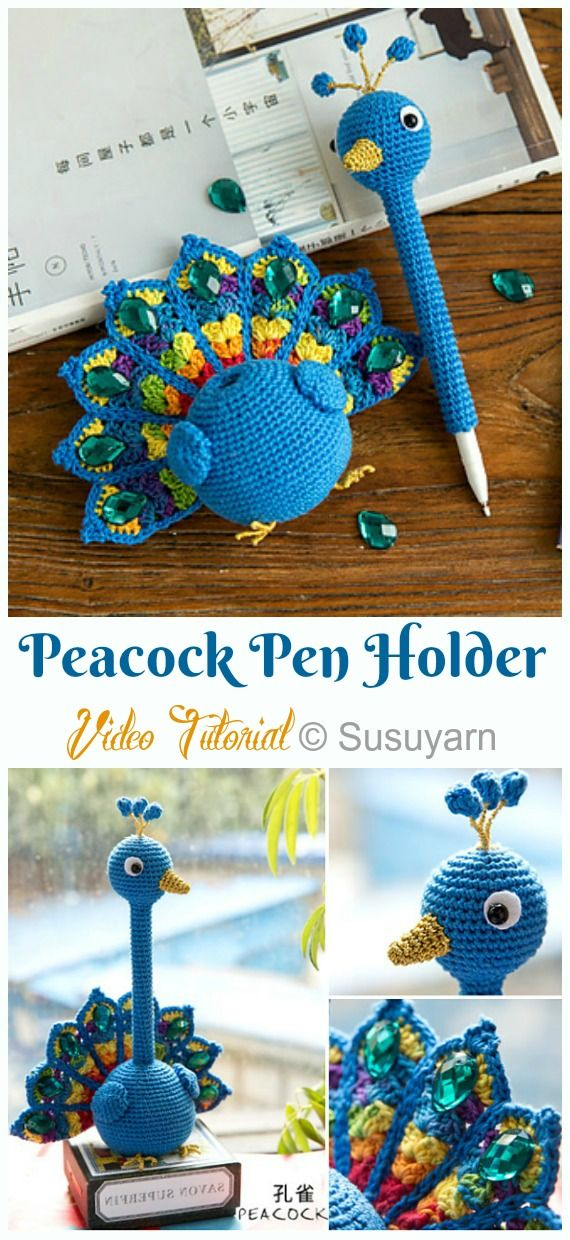 Amigurumi Peacock Pen Holder Crochet Free Pattern [Video]