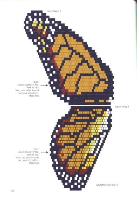 Monarch butterfly peyote pattern