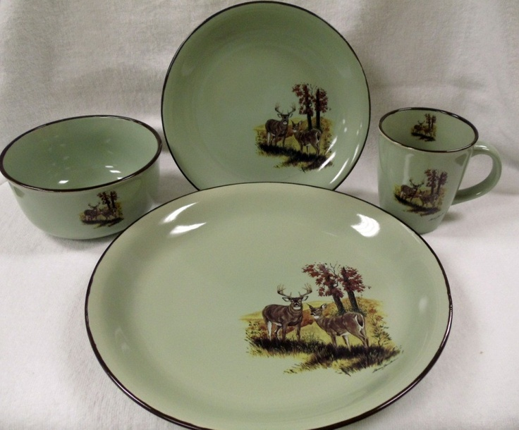 Design Impressions Home Decor - Fresh Meadow 16pc Rustic Whitetail Deer Dinnerware ( & 36 best Rustic Dinnerware images on Pinterest | Rustic dinnerware ...