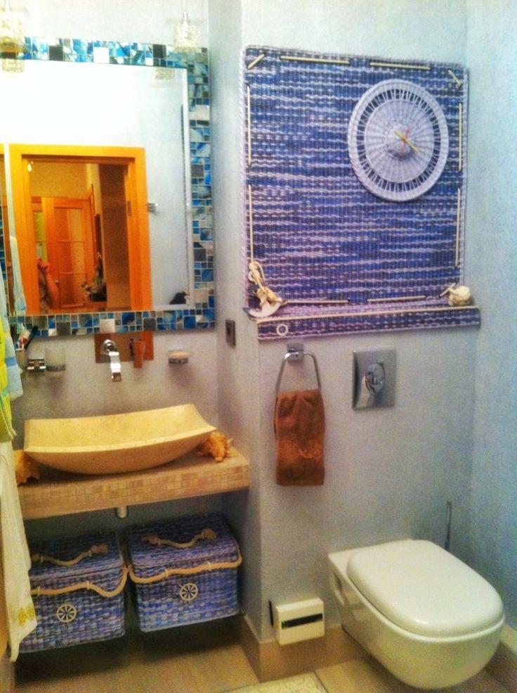 Комлект для ванной комнаты на морскую тему: корзины и панно с часами - Ярмарка Мастеров - ручная работа, handmade